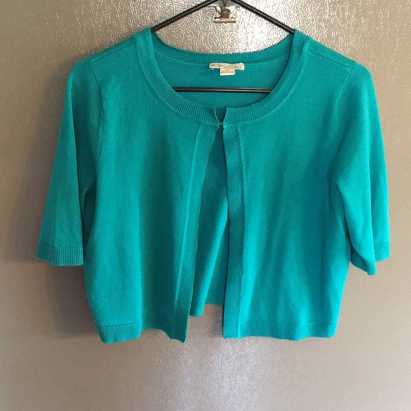 Kim Rogers Sweaters - Kim Rogers Cropped  Cardigan Turquoise 12P